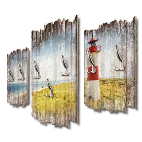 Strandpanorama Leuchtturm Shabby chic 3-Teiler Garderobe aus MDF