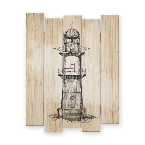 Leuchtturm | Shabby chic Holzbild | ca.60x44cm