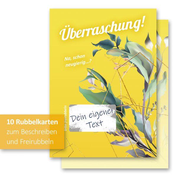 """""""Überraschung Gelb"""" Rubbelkarten im 10er Set mit Umschlägen und Rubbelstickern"""