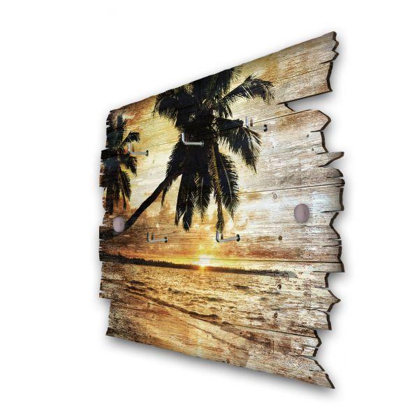 Palmenstrand Schlüsselbrett mit 5 Haken im Shabby Style aus Holz