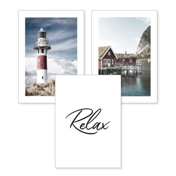 3-teiliges Poster-Set | Relax | optional mit Rahmen | DIN A4 oder A3