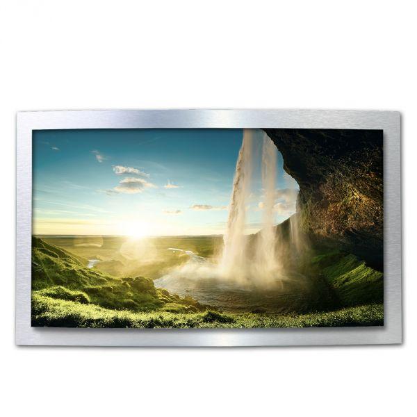 3D Wandbild Wasserfall aus gebürstetem Aluminium