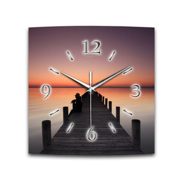 Wanduhr Sonnenuntergang aus Alu-Verbund mit leisem Funkuhrwerk