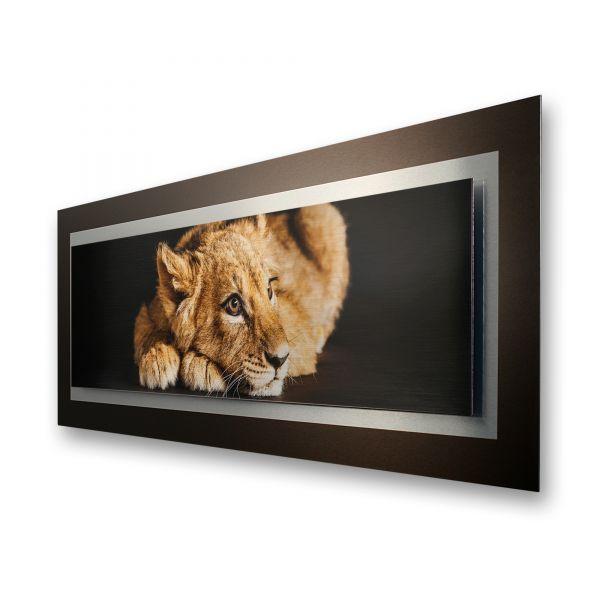 "3D Alu-Wandbild ""Kleiner Löwe"" aus gebürstetem Aluminium"