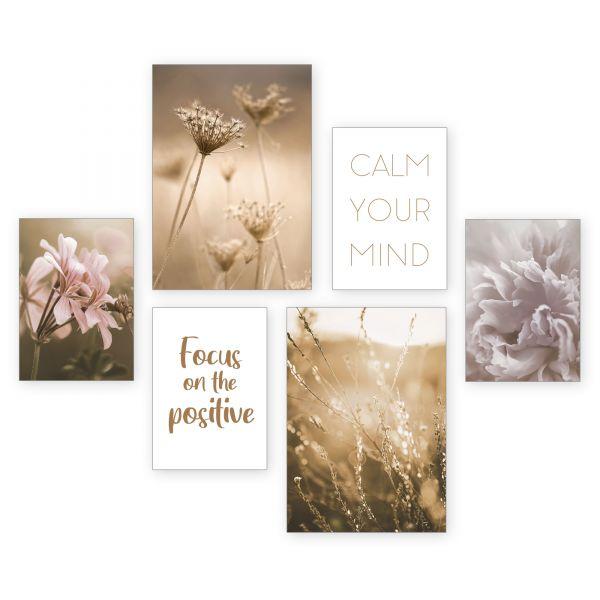 """Blüten"" 6-teiliges Poster-Set - optional mit Rahmen - 2 x DIN A3 & 4 x DIN A4"