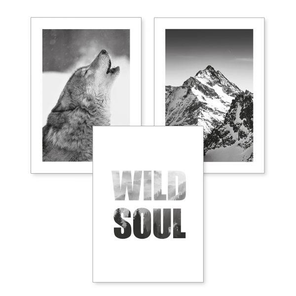 3-teiliges Poster-Set | Wild Soul | optional mit Rahmen | DIN A4 oder A3