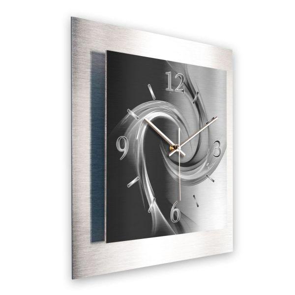 """3D Wanduhr """"Abstrakt Schwarz Weiß"""" aus gebürstetem Aluminium mit leisem Funk- oder Quarzuhrwerk"""
