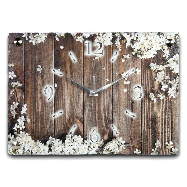 Blüten Designer Funk-Wanduhr aus echtem Naturschiefer mit leisem Funk- oder Quarzuhrwerk