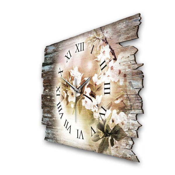 """Designer Funk-Wanduhr """"Zarte Blüten"""" aus Naturholz mit leisem Funk- oder Quarzuhrwerk"""