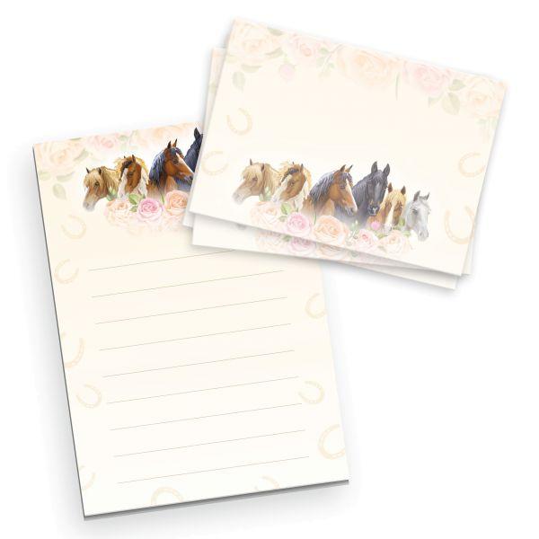 Briefpapier-Set für Kinder | Pferde & Rosen | DIN A5 Briefpapier-Block 50 Blatt mit 20 Umschlägen