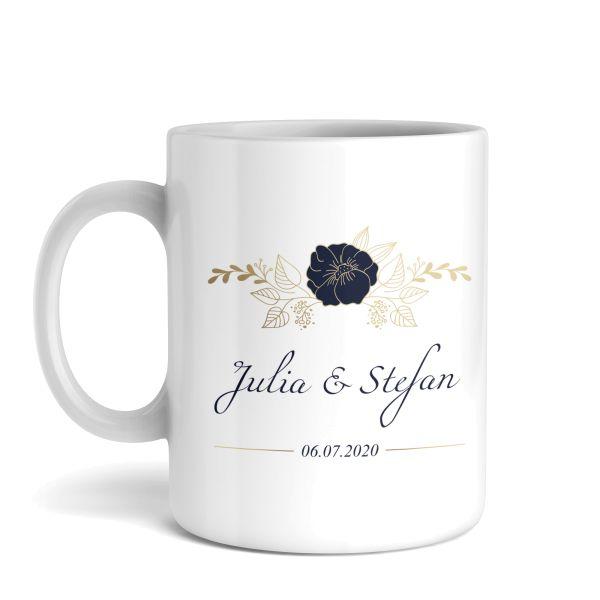 Tasse mit Ihrem Wunschnamen   Blaue Blume   Keramiktasse   fasst ca. 300ml   ideales Geschenk