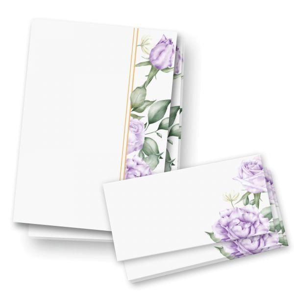 Briefpapier-Set | Violette Rosen | 25x DIN A4 Briefpapier mit passenden Umschlägen