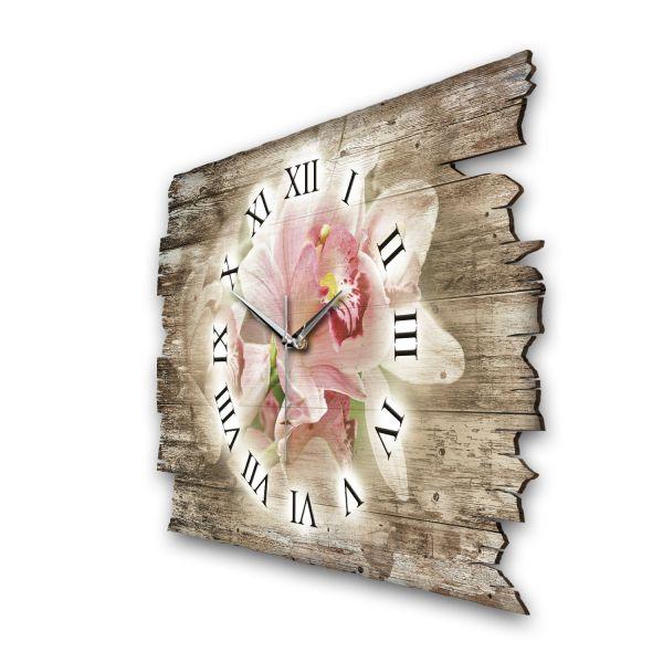 """Designer Funk-Wanduhr """"Orchidee Pink"""" aus Naturholz mit leisem Funk- oder Quarzuhrwerk"""