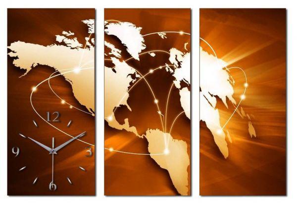3 Teilige Wanduhr Weltkarte XXL Metallic aus gebürstetem Aluminium mit leisem Funkuhrwerk