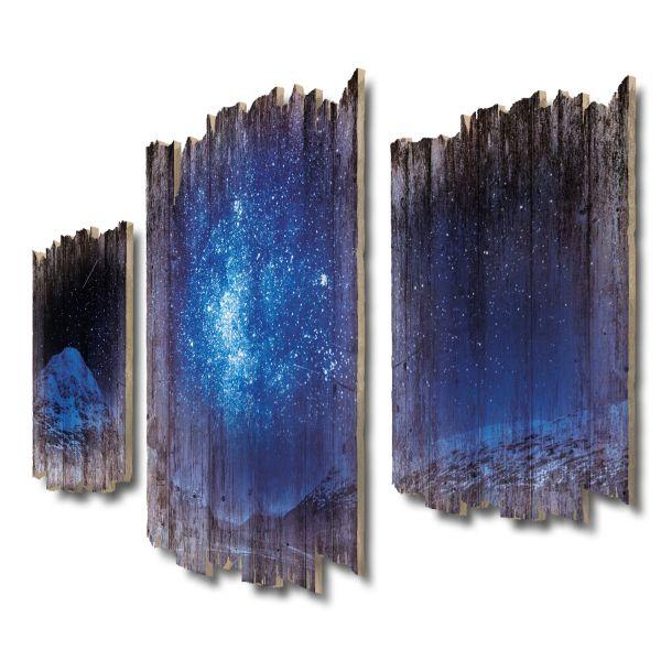 Sternenhimmel über den Schottischen Highlands Shabby chic 3-Teiler Wandbild aus Massiv-Holz