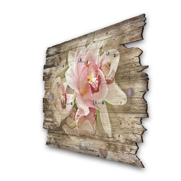 Rosa Orchidee Schlüsselbrett mit 5 Haken im Shabby Style aus Holz