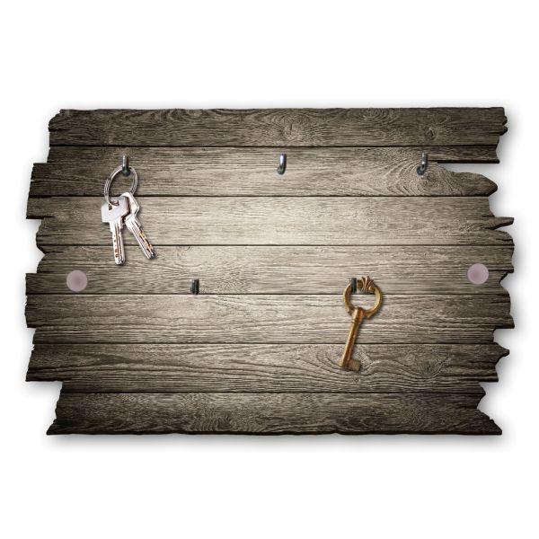 Holzstruktur braun Schlüsselbrett mit 5 Haken im Shabby Style aus Holz