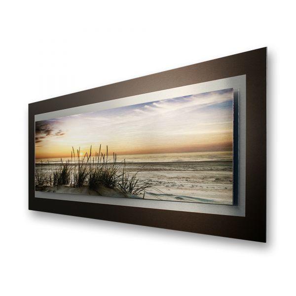"3D Alu-Wandbild ""Abendlicher Strand"" aus gebürstetem Aluminium"