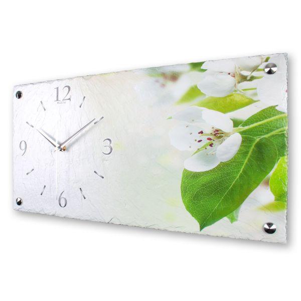 """Designer Wanduhr """"Weiße Blüten"""" aus echtem Naturschiefer mit leisem Funk- oder Quarzuhrwerk"""