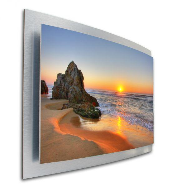 3D Wandbild Beach Chill Out aus gebürstetem Aluminium