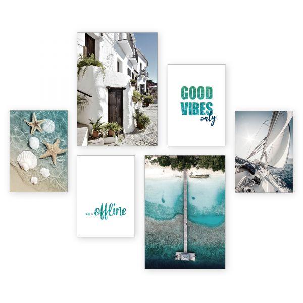 """Good Vibes"" 6-teiliges Poster-Set - optional mit Rahmen - 2 x DIN A3 & 4 x DIN A4"