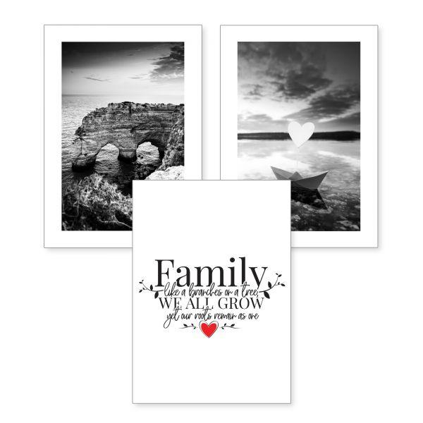 3-teiliges Poster-Set   Family   optional mit Rahmen   DIN A4 oder A3