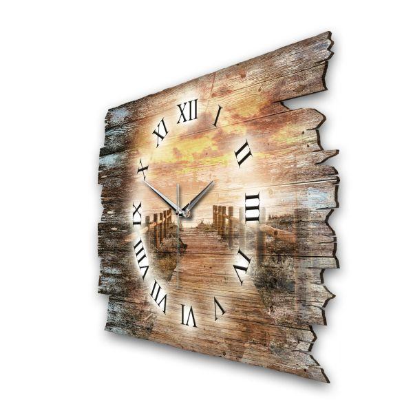 """Designer Funk-Wanduhr """"Steg bei Sonnenuntergang"""" aus Naturholz mit leisem Funk- oder Quarzuhrwerk"""