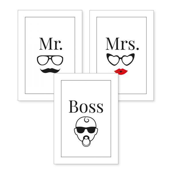 3-teiliges Poster-Set | Mr & Mrs | optional mit Rahmen | DIN A4 oder A3