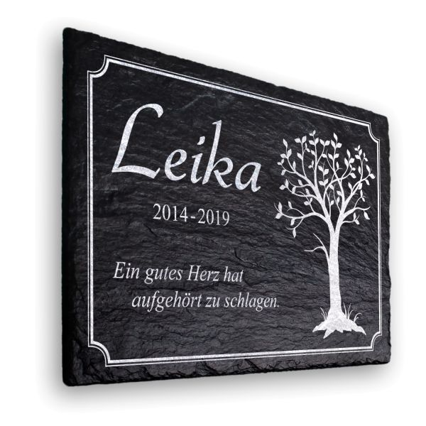 Baum Gedenktafel aus Naturschiefer mit Ihren Wunschdaten