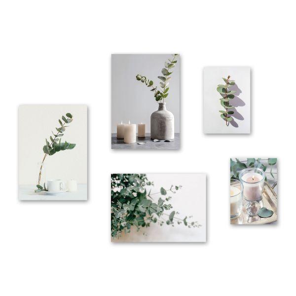 """Eukalyptus"" 5-teiliges Poster-Set - optional mit Rahmen - 3x DIN A3 & 2x DIN A4"