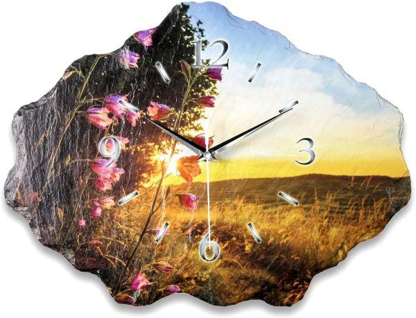 Natur Relax Designer Funk-Wanduhr aus echtem Naturschiefer mit leisem Funk- oder Quarzuhrwerk