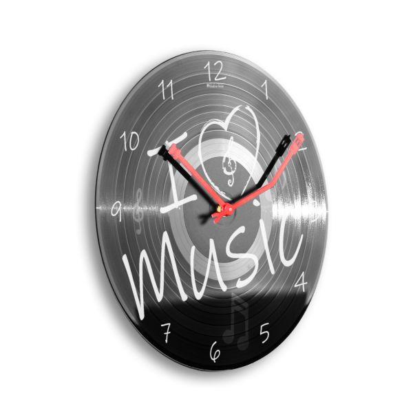 """Schallplattenuhr """"I love Music"""" wahlw. mit leisem Funk- oder Quarzuhrwerk"""