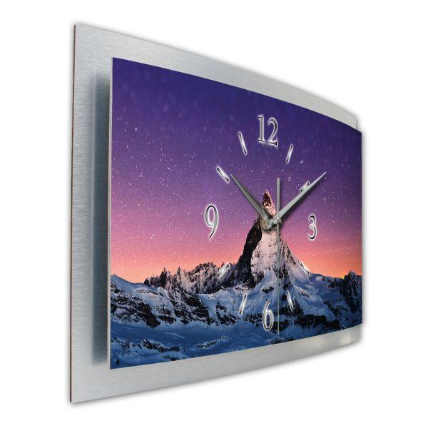 "3D Wanduhr ""Matterhorn Sternenhimmel"" aus gebürstetem Aluminium mit leisem Funk- oder Quarzuhrwerk"