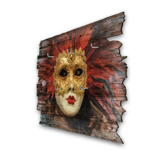 Maske Venedig Schlüsselbrett mit 5 Haken im Shabby Style aus Holz