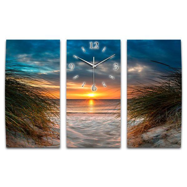 3 Teilige Wanduhr Beach XXL aus Aluminium mit leisem Funkuhrwerk