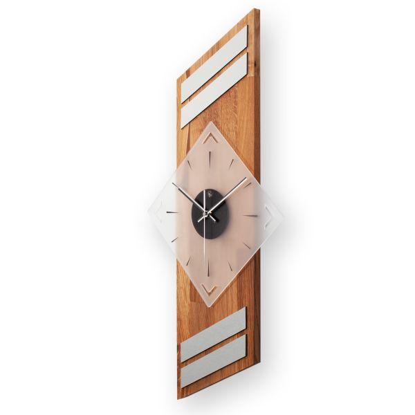 """Designer Funk-Wanduhr """"Eiche"""" aus Massivholz mit leisem Funk- oder Quarzuhrwerk"""
