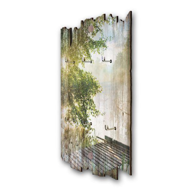 Steg im Grünen Schlüsselbrett mit 6 Haken im Shabby Style aus Holz