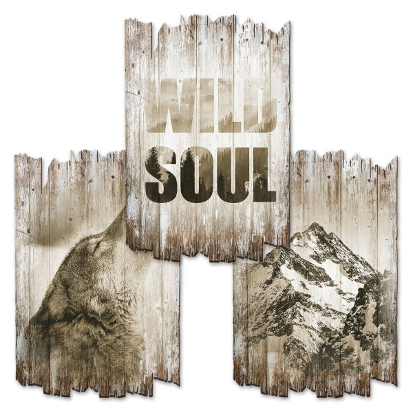 Wild Soul | Deko-Holzschilder im 3er Set | wahlw. in 30x20cm oder 30x45cm
