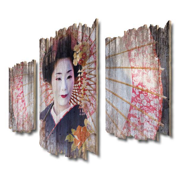 Geisha Shabby chic 3-Teiler Wandbild aus Massiv-Holz