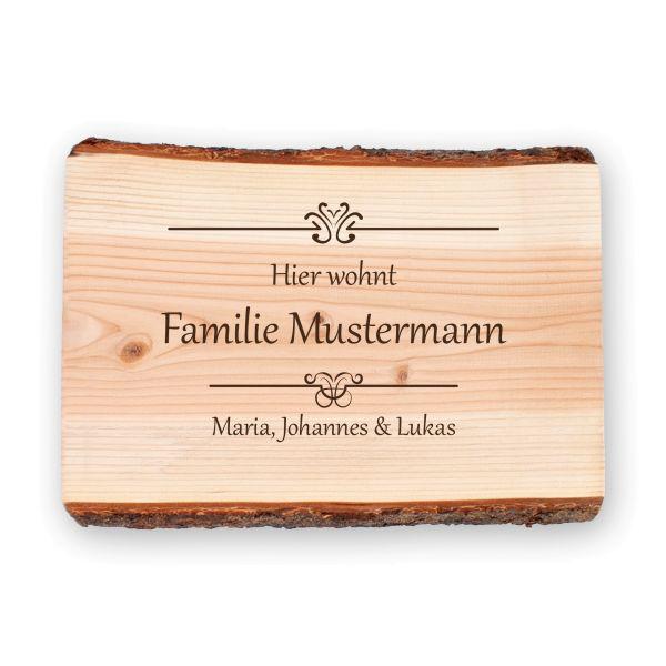 Ornamente | Holzschild personalisiert mit Ihrem Wunsch-Text | ideale Deko für die Haustür