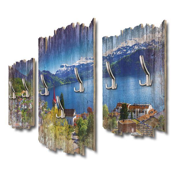 Vierwaldstättersee Schweiz Schottische Highlands Shabby chic 3-Teiler Garderobe aus MDF