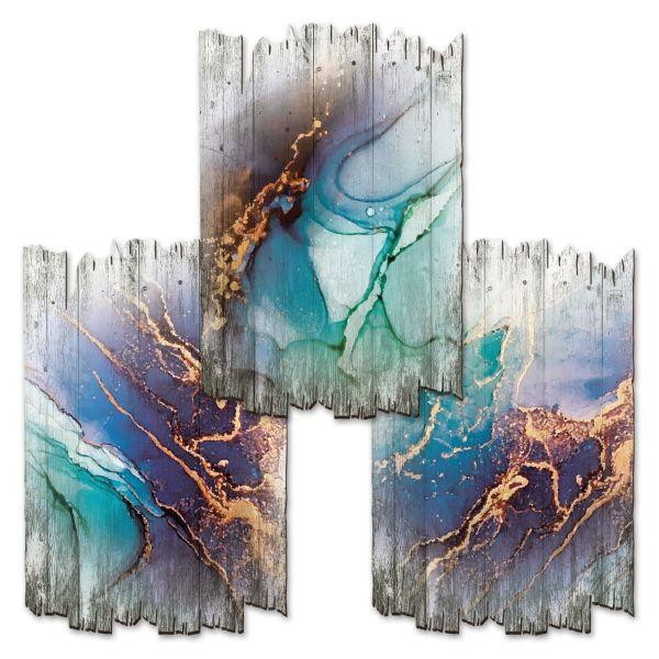 Abstrakt Blau | Deko-Holzschilder im 3er Set | wahlw. in 30x20cm oder 30x45cm