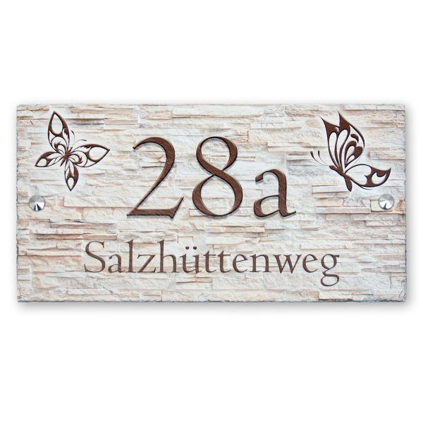"""Hausnummerschild """"Schmetterlinge"""" aus Naturschiefer"""