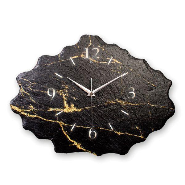 Black & Gold Designer Funk-Wanduhr aus echtem Naturschiefer mit leisem Funk- oder Quarzuhrwerk
