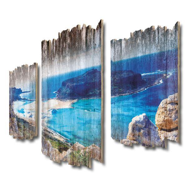 Balos Bucht Kreta Shabby chic 3-Teiler Wandbild aus Massiv-Holz
