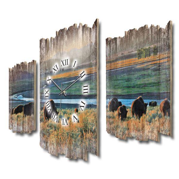 Bisons Yellowstone Shabby chic Dreiteilige Wanduhr aus MDF mit leisem Funk- oder Quarzuhrwerk