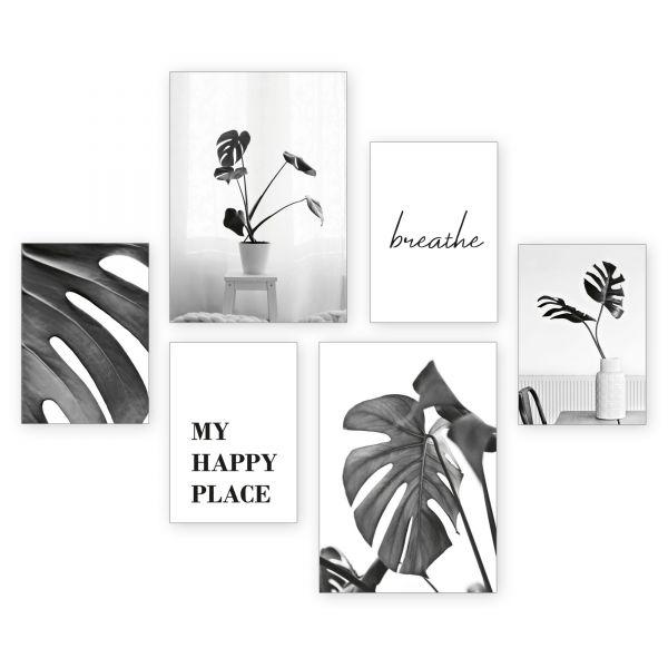 """Pflanzen"" 6-teiliges Poster-Set - optional mit Rahmen - 2 x DIN A3 & 4 x DIN A4"
