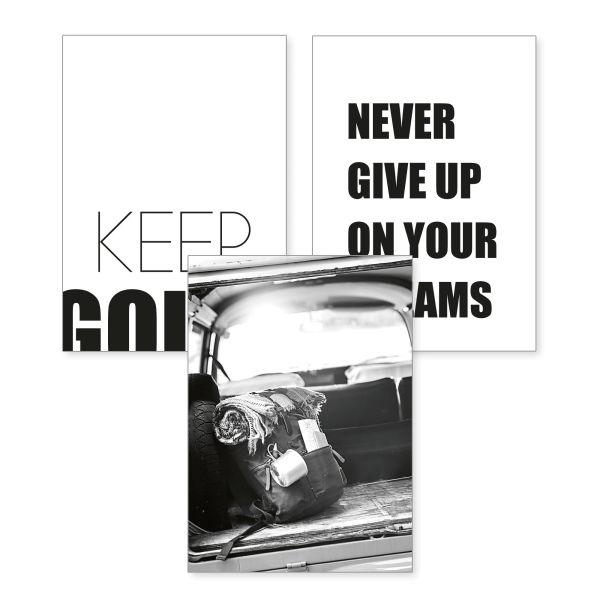 3-teiliges Poster-Set | Keep Going | optional mit Rahmen | DIN A4 oder A3