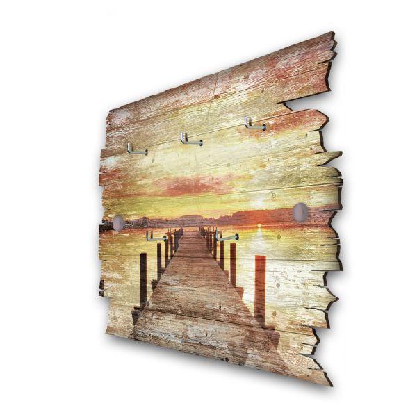 Steg in den Sonnenuntergang Schlüsselbrett mit 5 Haken im Shabby Style aus Holz
