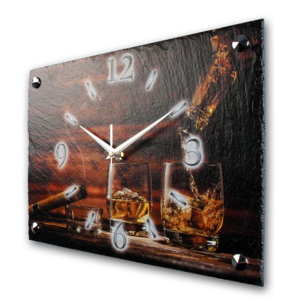 """Designer Funk-Wanduhr """"Whisky & Zigarre"""" aus echtem Naturschiefer mit leisem Funkuhrwerk"""